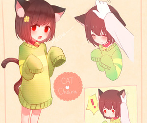 cat, chara, and undertale image
