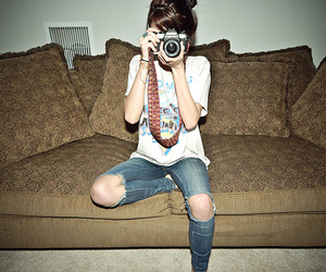 camera, girl, and jeans image