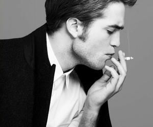 robert pattinson, black and white, and smoke image