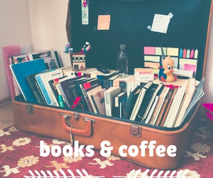 books, suitcase, and brown image