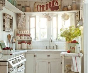 kitchen, white, and vintage image