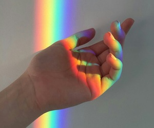 hand, rainbow, and color image