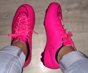 football, pink, and shoes image