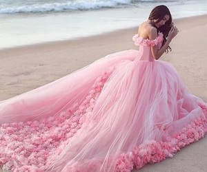dress, pink, and beach image