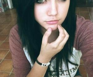 girl, hair, and black hair image