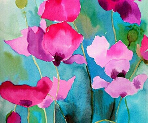 flowers, poppies, and watercolor image