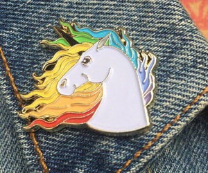unicorn, brooches, and jeans image