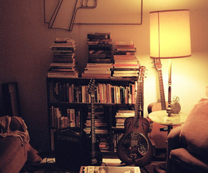 book, guitar, and room image