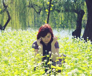 dress, field, and romantic image