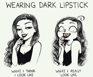 funny, lipstick, and dark image