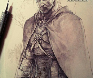 white wolf, the witcher, and geralt of rivia image