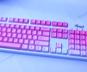 pink, keyboard, and pale image