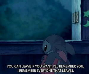 sad, stitch, and quotes image