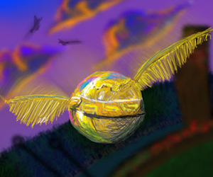 harry potter, illustration, and snitch image