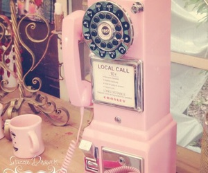 vintage, pink, and phone image