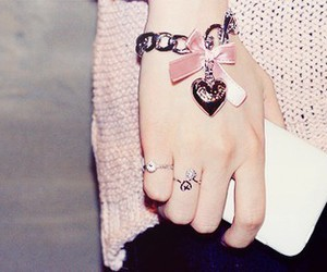 pink, bracelet, and heart image