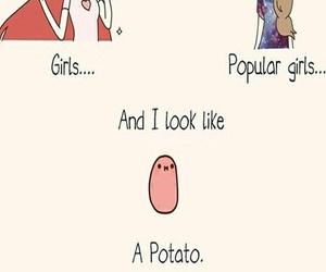 girl, funny, and potato image