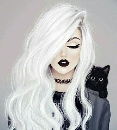 Wallpaper Fashion White Hair Black Cat Drawing