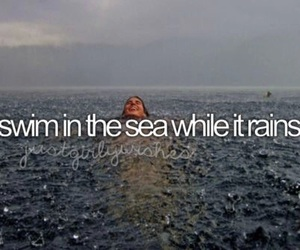 rain, sea, and swim image