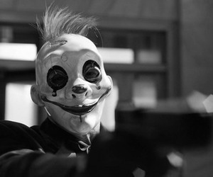 clown, black and white, and gun image