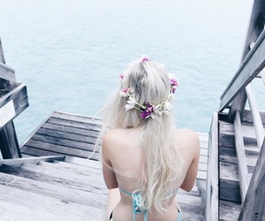 bora bora, flower crown, and flowers image