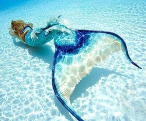 mermaid, blue, and water image