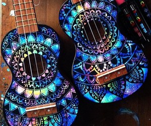 guitar, art, and blue image