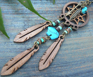 etsy, feather necklace, and tribal fusion image