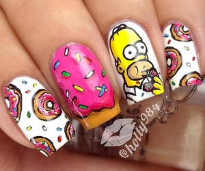 nails, simpsons, and donuts image