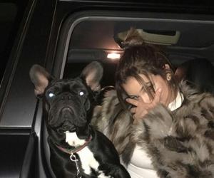 girl, dog, and dark image
