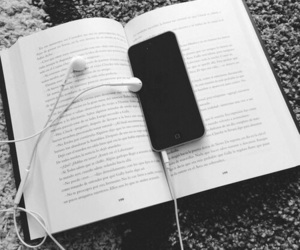 book, music, and iphone image
