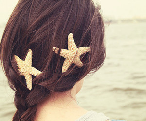 hair, girl, and starfish image