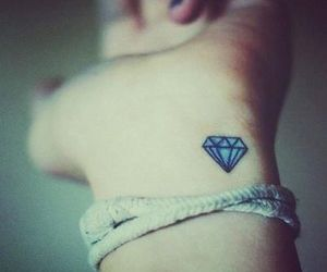 tattoo, diamond, and hand image