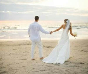 beach, bride, and party image