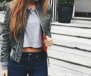dark blue jeans, long straight brown hair, and blue denim jeans image