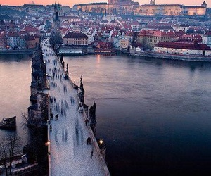 city, prague, and bridge image