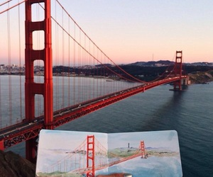 art, bridge, and drawing image