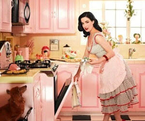 Dita von Teese, kitchen, and pink image