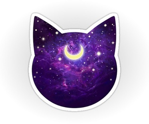 cat, moon, and sailor moon image