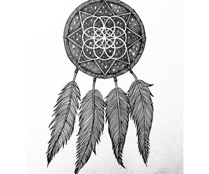 drawing, dreamcatcher, and mandala image