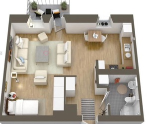 apartment, loft, and furniture image