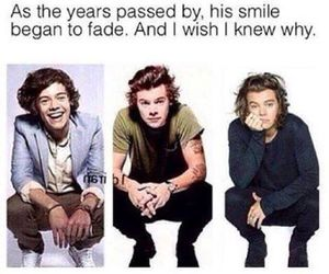 Harry Styles, smile, and sad image