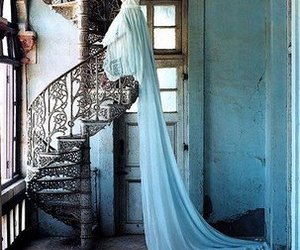 dress, blue, and stairs image