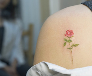 girl tattoo, rose, and tattoo image