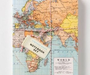 notebook, world, and map image