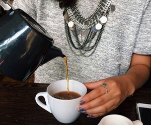 coffee, lifestyle, and outfit image