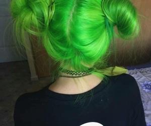hair, green, and girl image