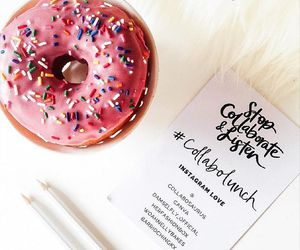 doughnut, pink, and foodie image