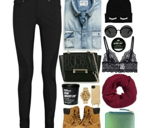 beanie, black, and denim image