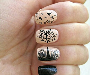 nails, tree, and black image